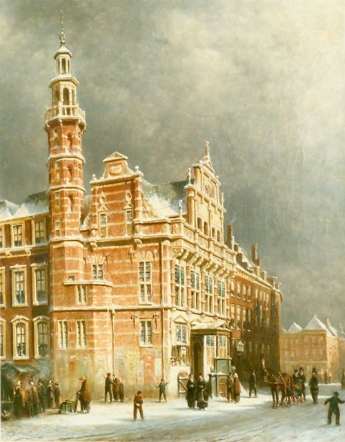 Petrus Gerardus Vertin | Townhall in winter, The Hague, oil on canvas, 62.5 x 50.5 cm, signed l.l. and dated '80