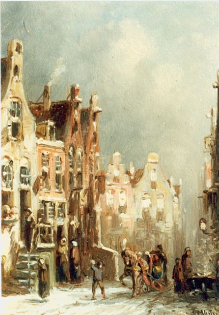 Petrus Gerardus Vertin | A snow-covered Dutch town, oil on panel, 13.2 x 8.0 cm, signed l.r. and dated '88