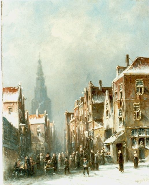 Petrus Gerardus Vertin | Figures in a snow-covered town, oil on panel, 26.5 x 19.5 cm, signed l.r. and dated '56