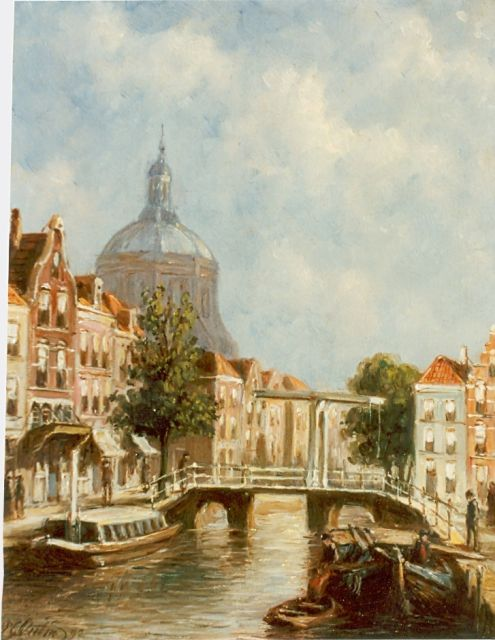 Petrus Gerardus Vertin | View of the 'Marekerk', Leiden, oil on panel, 22.0 x 17.7 cm, signed l.l. and dated '92