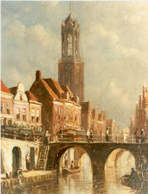 Petrus Gerardus Vertin | A view of a Dutch town, oil on panel, 13.0 x 10.1 cm, signed l.l.