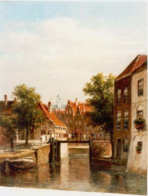 Petrus Gerardus Vertin | A canal in summer, oil on panel, 23.3 x 18.7 cm, signed l.r.