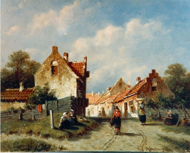 Petrus Gerardus Vertin | A sunlit town, oil on panel, 14.9 x 19.0 cm, signed l.r.