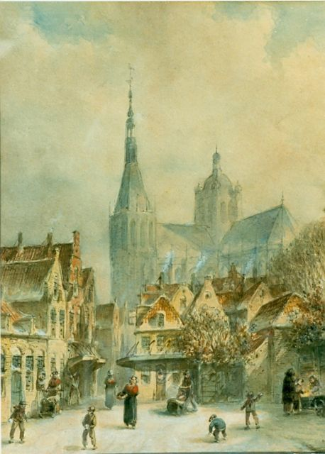 Petrus Gerardus Vertin | A view in a snowy town, watercolour on paper, 29.0 x 23.0 cm, signed l.r.