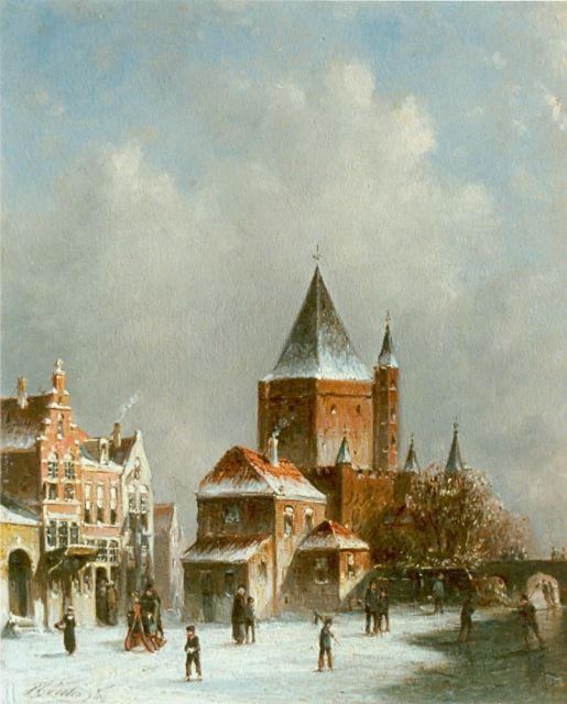 Petrus Gerardus Vertin | A snow-covered town, oil on panel, 25.0 x 20.8 cm, signed l.l.