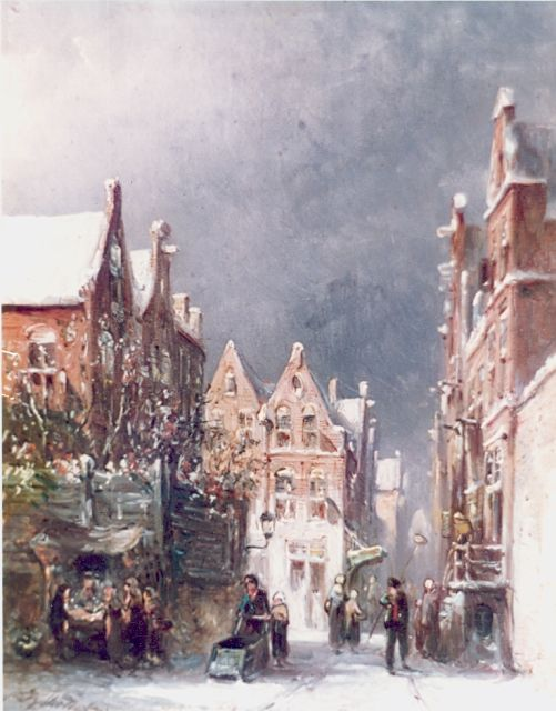 Petrus Gerardus Vertin | A snowy Dutch town, oil on panel, 20.0 x 15.0 cm, signed l.l. and dated '87