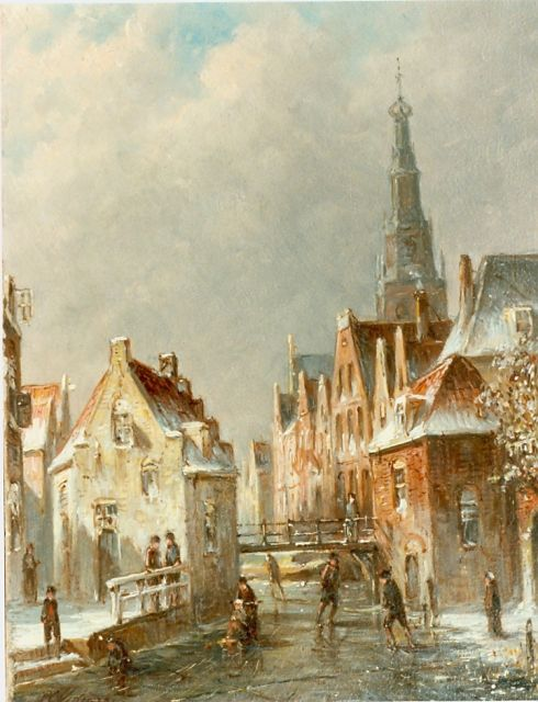 Petrus Gerardus Vertin | Canal with skaters, oil on panel, 24.0 x 19.4 cm, signed l.l.