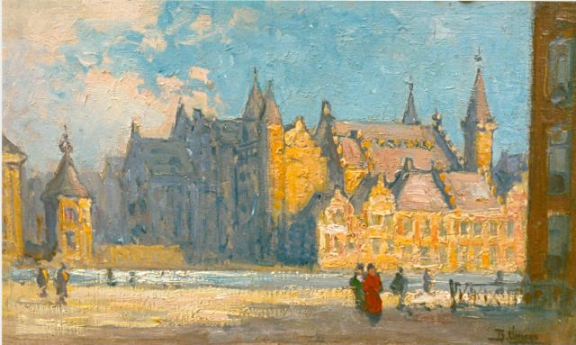 Viegers B.P.  | A view of the 'Binnenhof', The Hague, oil on panel 23.0 x 37.5 cm, signed l.r.