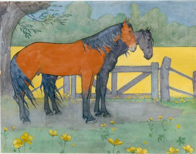 Jan Voerman sr. | Two horses, gouache on board, 25.0 x 32.0 cm, signed signed with monogram