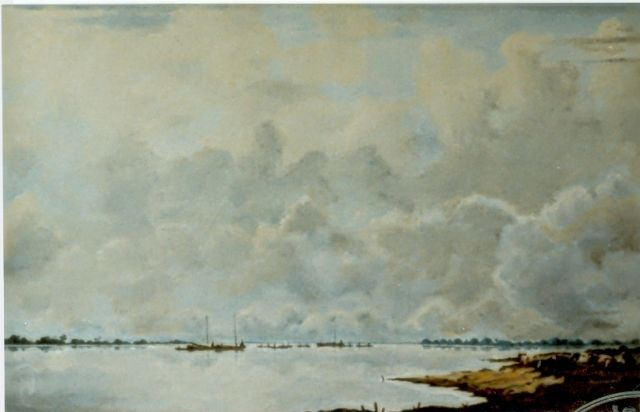 Jan Voerman sr. | View of the river  IJssel, oil on panel, 33.5 x 51.0 cm, signed l.r.