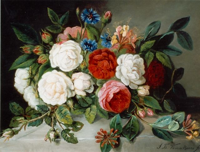 Sebastiaan Theodorus Voorn Boers | Roses and cornflowers, oil on canvas, 36.0 x 49.5 cm, signed l.r.