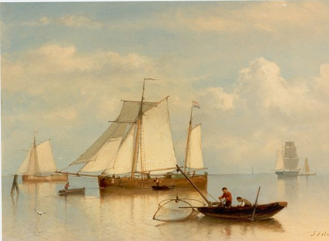 Johan Rust | Anchored boats, oil on panel, 25.9 x 35.8 cm, signed l.r.
