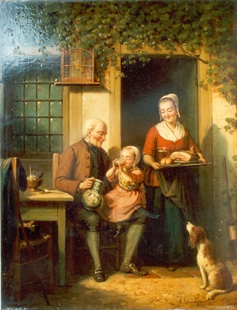 Andries Scheerboom | A happy family, oil on panel, 39.0 x 30.5 cm, signed l.r. and dated '63