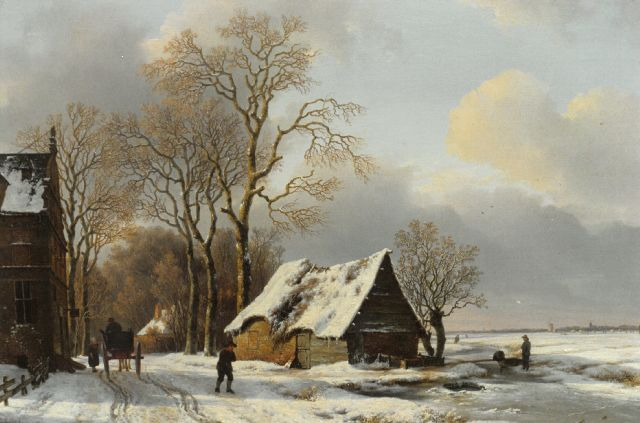 Andreas Schelfhout | Figures in a winter landscape with houses to the left, oil on panel, 63.0 x 79.0 cm