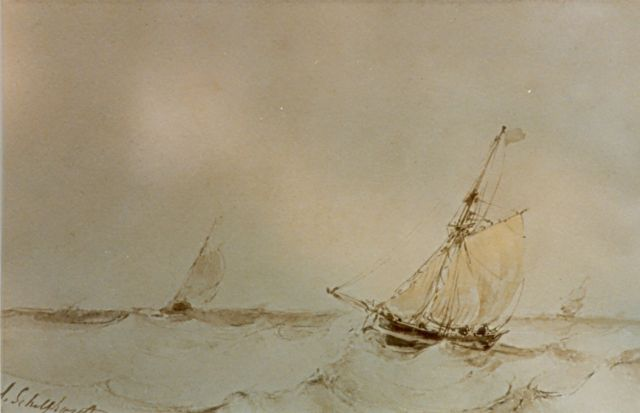 Andreas Schelfhout | Marine, sepia on paper, 17.5 x 27.1 cm, signed l.l.