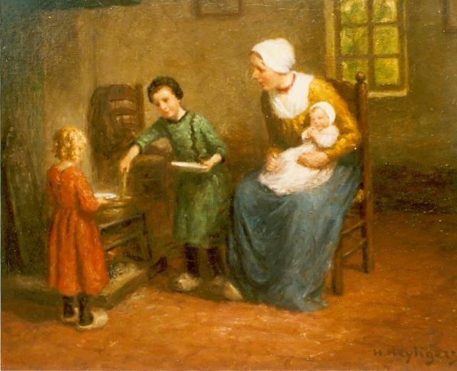Henri Heijligers | Interior with mother and child, oil on canvas, 45.5 x 54.5 cm, signed l.r.