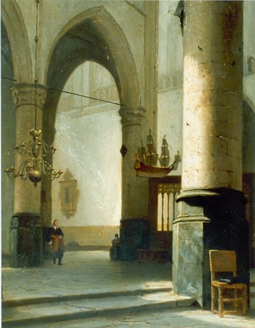 Jan Jacob Schenkel | Church interior, oil on panel, 45.7 x 36.8 cm, signed l.l.