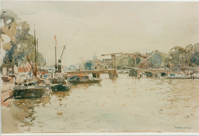 Cornelis Vreedenburgh | View of the 'Magere Brug', Amsterdam, watercolour on paper, 32.0 x 46.0 cm, signed l.r.