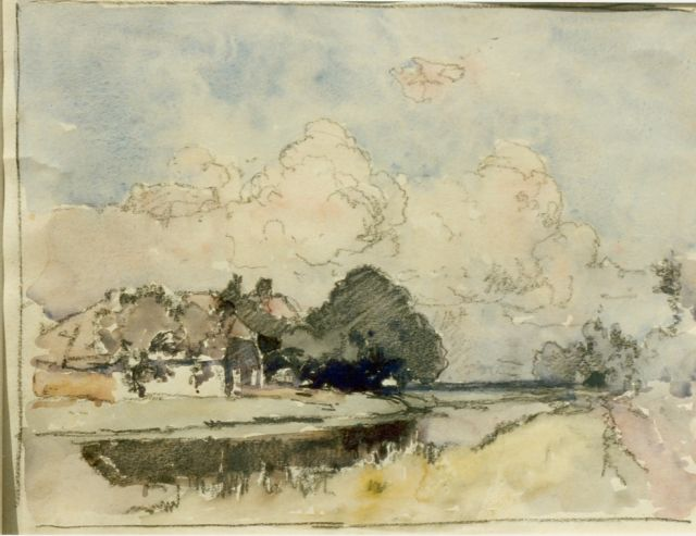Cornelis Vreedenburgh | A farm along a canal, watercolour on paper, 21.0 x 27.5 cm