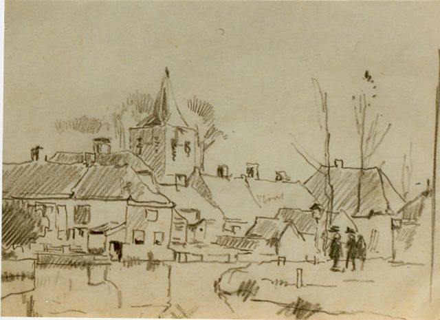 Cornelis Vreedenburgh | View of a village, pencil on paper, 12.0 x 17.0 cm