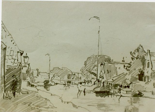 Cornelis Vreedenburgh | Moored boats, pencil on paper, 11.5 x 20.5 cm