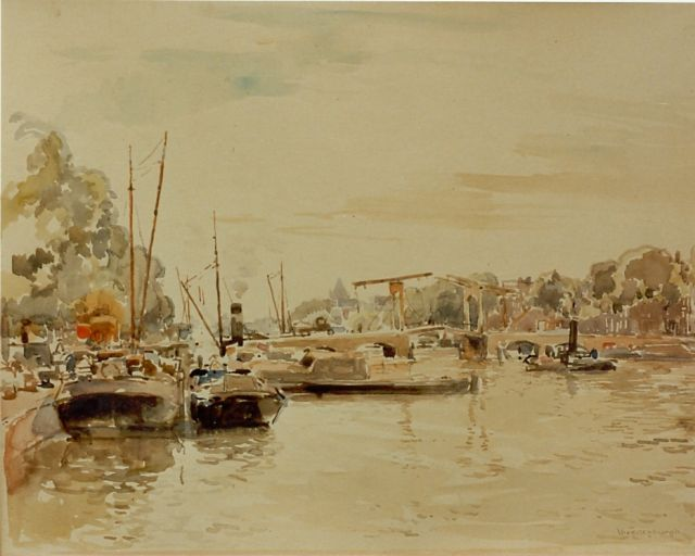Cornelis Vreedenburgh | The river Amstel, Amsterdam, watercolour on paper, 35.5 x 46.0 cm, signed l.r.