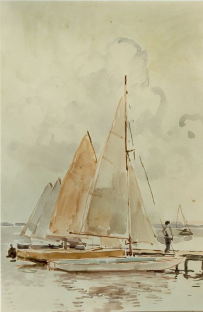 Cornelis Vreedenburgh | Moored sailing boats, watercolour on paper, 19.5 x 13.5 cm