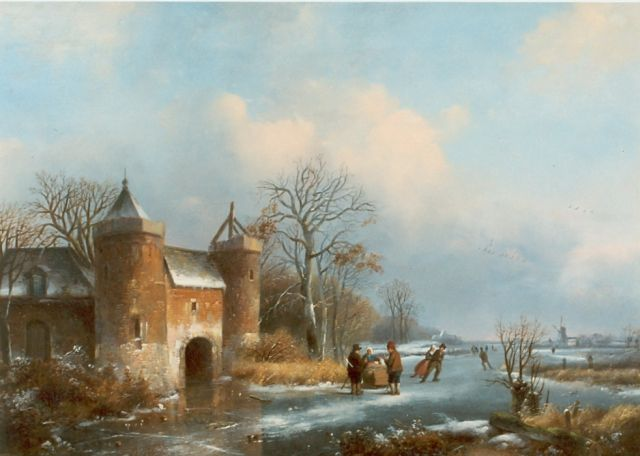 Johannes Petrus van Velzen | Ice sports, oil on panel, 33.0 x 45.0 cm, signed l.l.