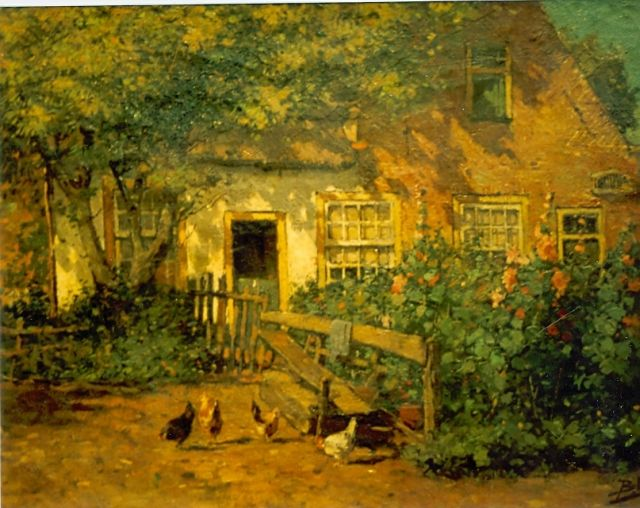 Paul van der Ven | Chickens on a yard, oil on canvas, 35.5 x 55.7 cm, signed l.l.