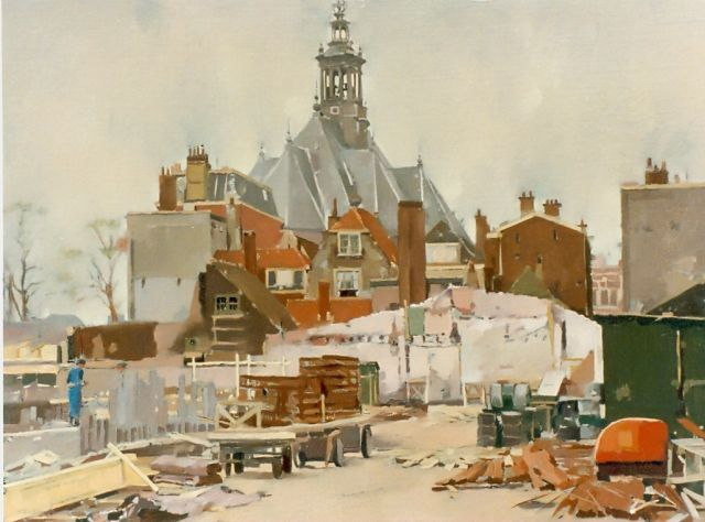 Frits Verdonk | The 'Spui', The Hague, oil on canvas, 44.0 x 74.0 cm, signed l.l.