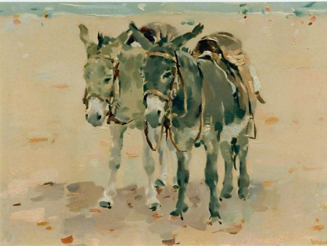 Frits Verdonk | Donkies on the beach, oil on panel, 34.2 x 47.3 cm, signed l.r.