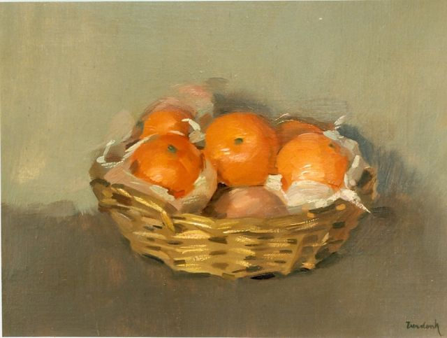 Frits Verdonk | Mandarins in a basket, oil on canvas, 30.0 x 40.5 cm, signed l.r.