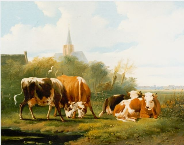 Albertus Verhoesen | Cattle in a landscape, oil on panel, 26.0 x 34.5 cm, signed l.r.