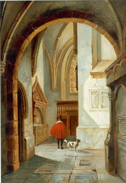 Albertus Verhoesen | Church interior, oil on panel, 33.8 x 26.0 cm, signed l.r. and dated 1859