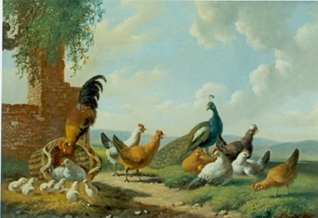 Albertus Verhoesen | Chickens and a peacock on a yard, oil on panel, 13.2 x 17.3 cm, signed l.l. and dated 1874