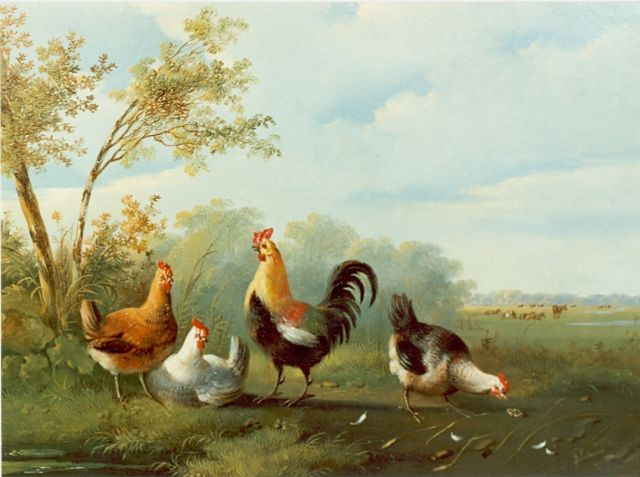 Albertus Verhoesen | Rooster and hens, oil on panel, 24.5 x 32.5 cm, signed l.r.