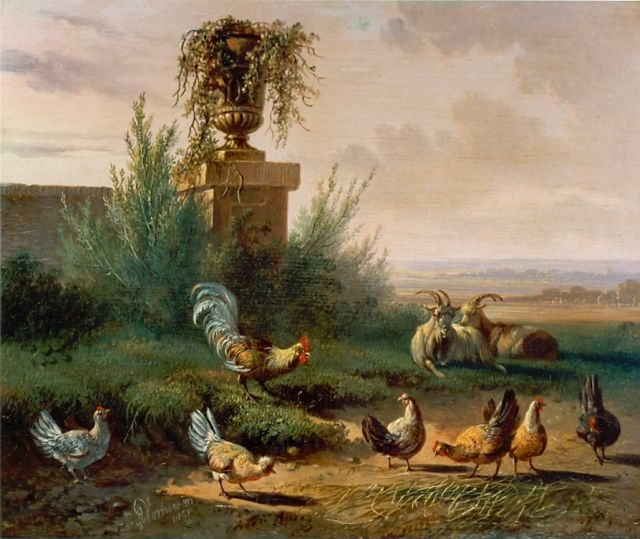 Albertus Verhoesen | Chickens in a meadow, oil on panel, 18.0 x 22.1 cm, signed l.l. and dated 1861