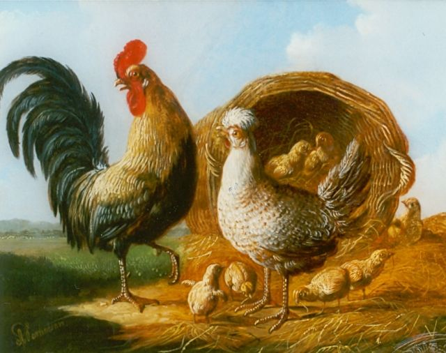 Albertus Verhoesen | Rooster, hen and chickens, oil on panel, 13.5 x 17.5 cm, signed l.l.