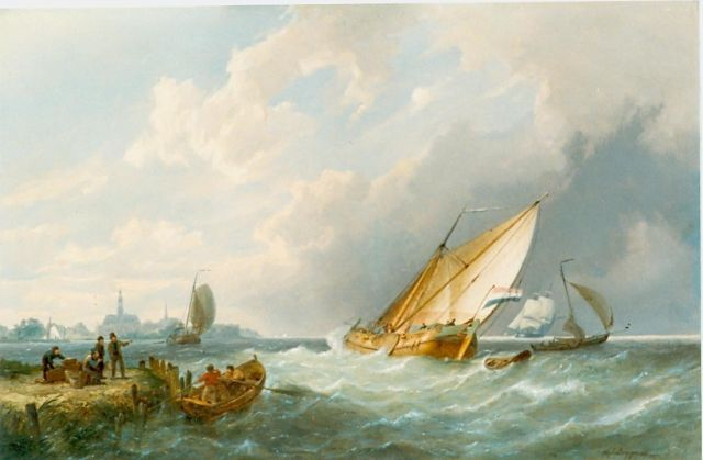 Pieter Cornelis Dommershuijzen | Sailing boats in a stiff breeze, oil on panel, 40.8 x 61.0 cm, signed l.r. and dated 1871