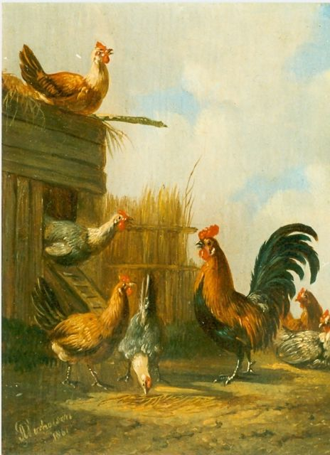 Albertus Verhoesen | A hen on a chicken-ladder, oil on panel, 12.7 x 10.4 cm, signed l.l.