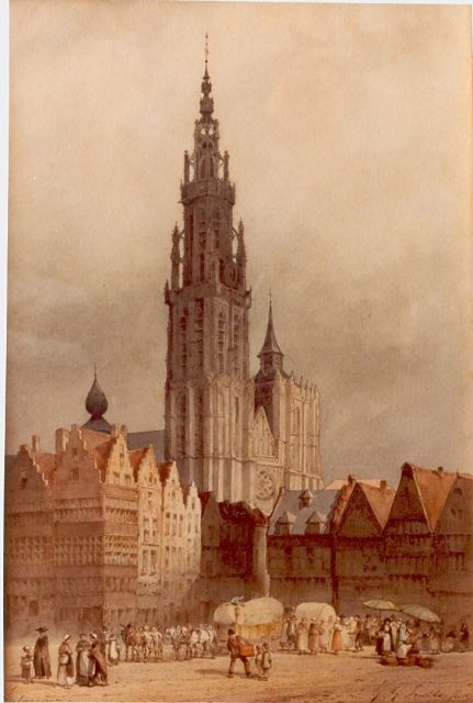 Jan Gerard Smits | A view of Antwerpen, watercolour on paper, 26.2 x 38.7 cm, signed l.l.