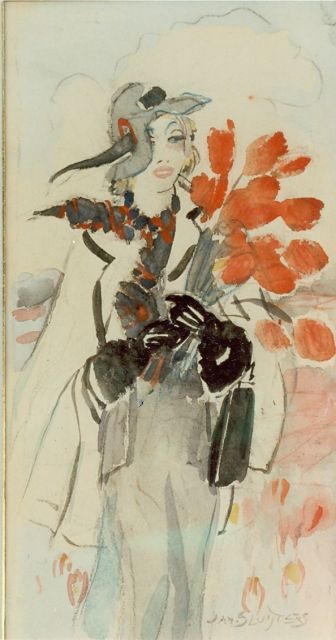 Anna Sluijter | Elegant lady with red tulips, watercolour on board, 24.5 x 14.0 cm, signed l.r.
