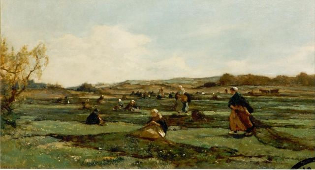 Johannes Evert Hendrik Akkeringa | Mending the nets in the dunes, oil on canvas, 46.0 x 80.0 cm, signed l.l.