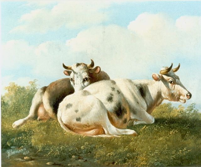 Albertus Verhoesen | Cows in a meadow, oil on panel, 14.5 x 16.5 cm, signed l.l. and dated 1846