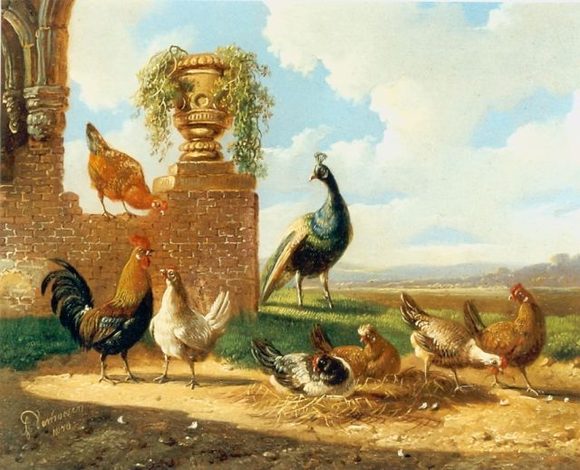 Albertus Verhoesen | Chickens and a  peacock in a classical landscape, oil on panel, 13.5 x 17.2 cm, signed l.l. and dated 1870