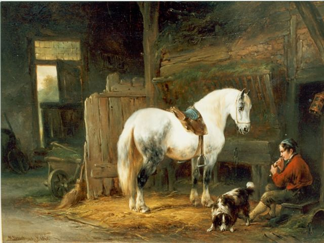 Wouterus Verschuur | Stable interior, oil on canvas, 27.0 x 35.0 cm, signed l.l. and dated 1845