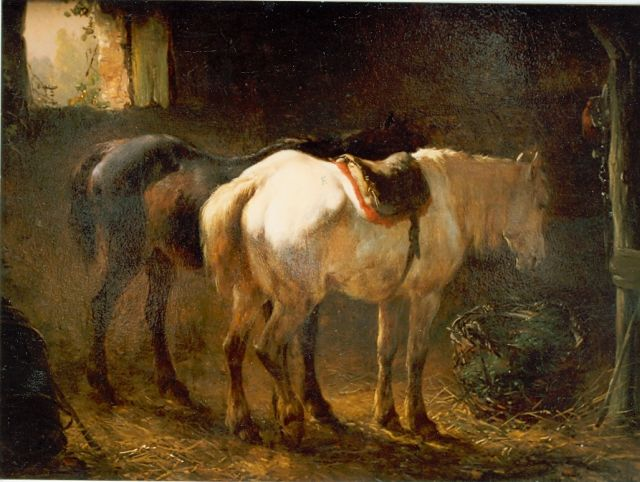 Wouterus Verschuur | Stable interior with two horses, oil on canvas laid down on panel, 18.1 x 24.2 cm, signed l.r.