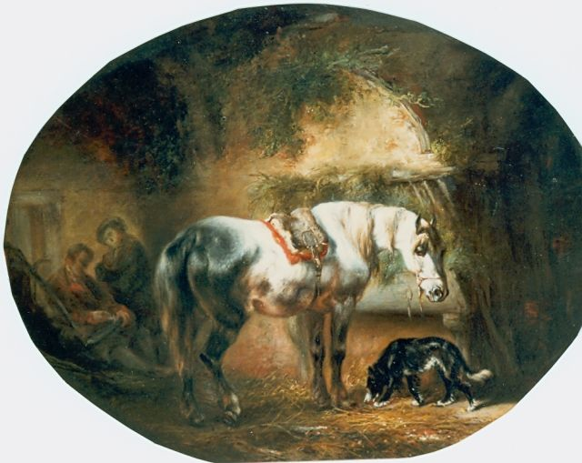 Wouterus Verschuur | Stable mates, oil on panel, 30.6 x 39.0 cm, signed l.l. and dated 1845