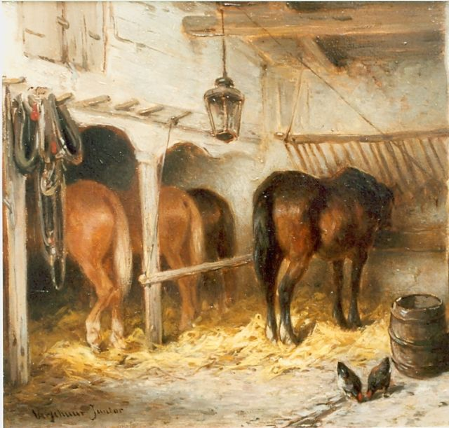 Wouter Verschuur jr. | Horses in a stable, oil on panel, 15.0 x 20.0 cm, signed l.l.