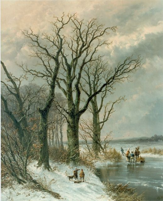Josephus Gerardus Hans | A winter landscape, oil on canvas, 63.0 x 52.0 cm, signed l.r.